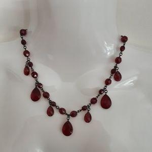 VIntage Signed Carolee Red Glass Dangly Necklace